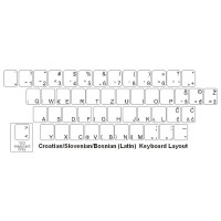 Keyboard Stickers for Slovenian (blue letters on clear labels)