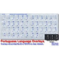 Keyboard Stickers for Portuguese (Brazilian) White for Black Keyboard