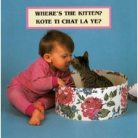 WHERE'S THE KITTEN? board book in Haitian Creole & English