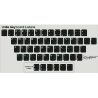 Keyboard Stickers for Urdu (Green and White on Opaque Black BG)