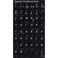 Keyboard Stickers (Black Opaque) for Spanish [Spain]