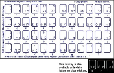 Keyboard Stickers for English Transparent (US Standard) Blue Letters