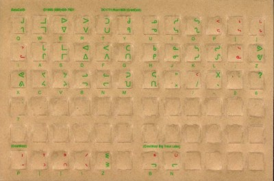Keyboard Stickers for Cree (Green Letters)