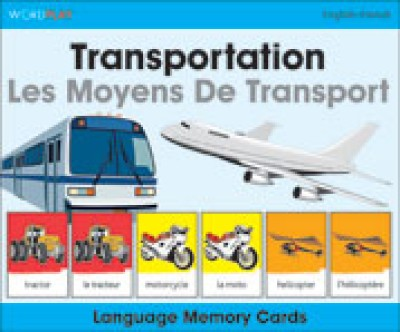 WordPlay Language Memory Cards - Transportation (Les Moyens De Transport) (English-French)