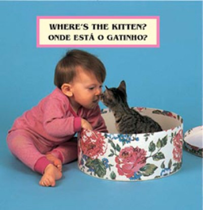 WHERE'S THE KITTEN? board book in Portuguese & English