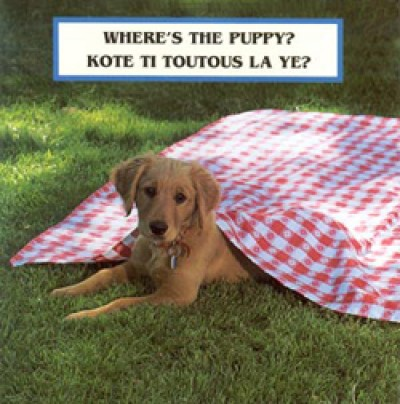 WHERE'S THE PUPPY? board book in Haitian Creole & English