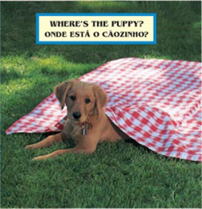 WHERE'S THE PUPPY? board book in Portuguese & English