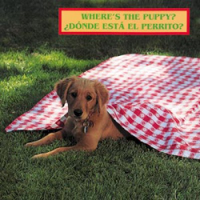 WHERE'S THE PUPPY? board book in Spanish & English