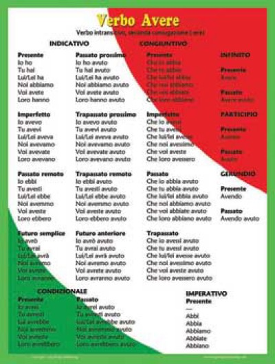 Verb Avere Poster - Italian Classroom Poster