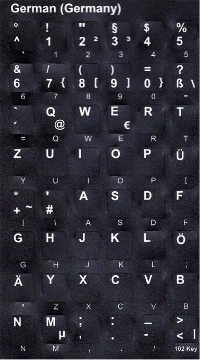 Keyboard Stickers (Black Opaque) for German