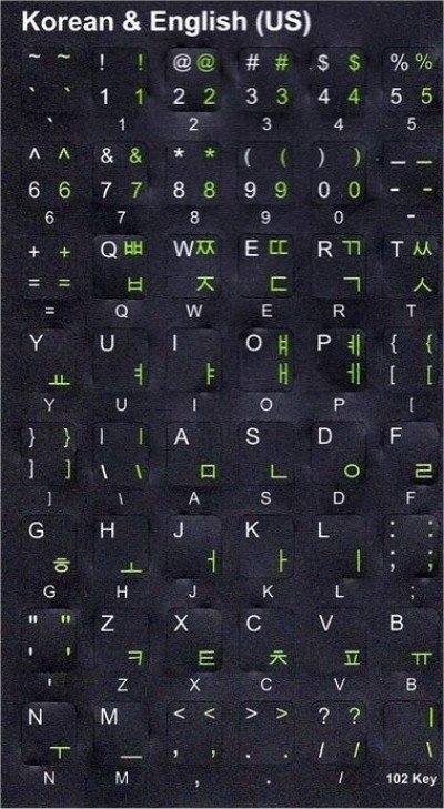 Keyboard Stickers (Black Opaque) for Korean