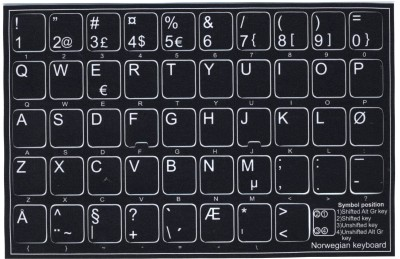 Keyboard Stickers (Black Opaque) for Norwegian